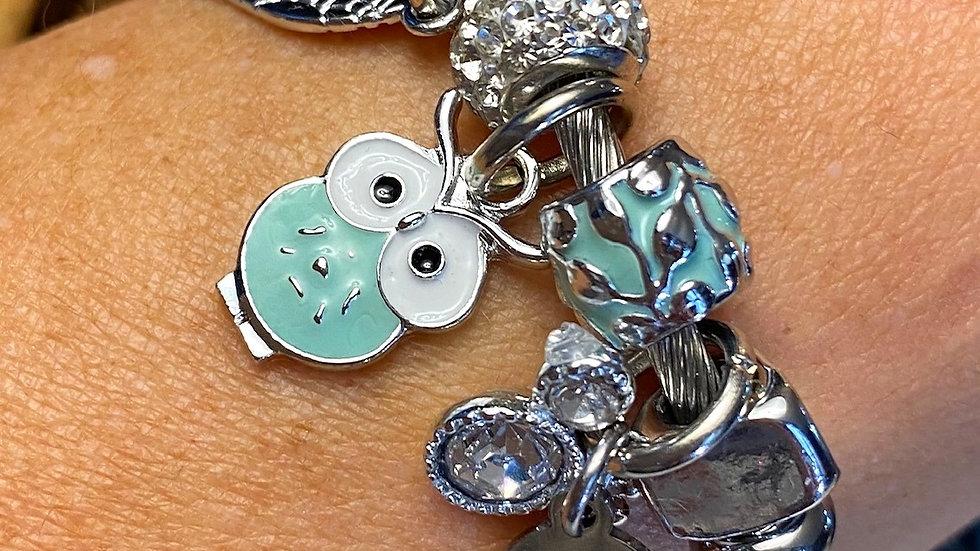 Mint Green Rhinestone Owl One Piece Coil Charm Bracelet