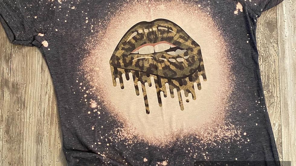 Ladies Junior Slim Fit Leopard Lips Sublimation T-Shirt