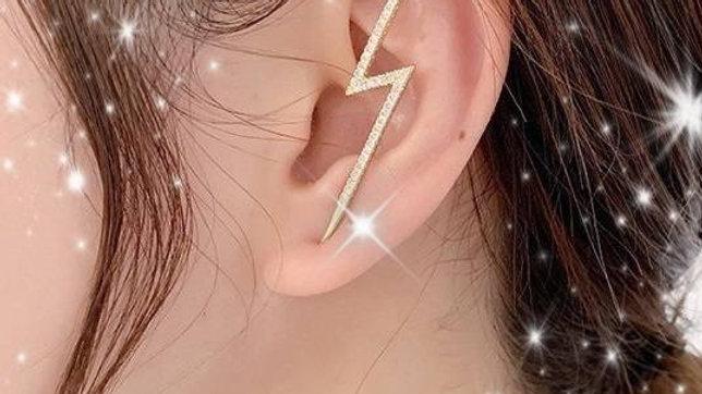 Gold Bling Rhinestone Lightning Bolt Earring Hook