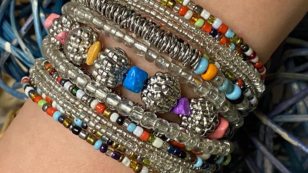 Silver Multi Colored Beaded Cuff Bracelet