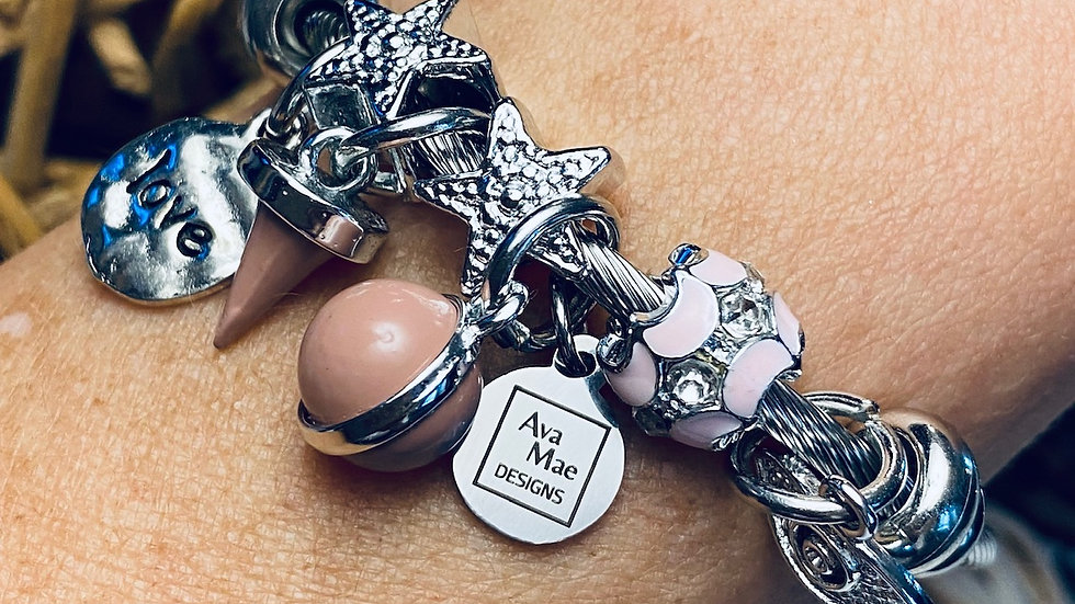 Mauve Star One Piece Coil Charm Bracelet