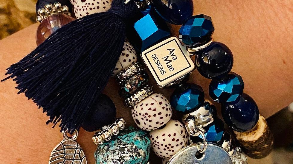 Royal Blue Beaded Stack Bracelets