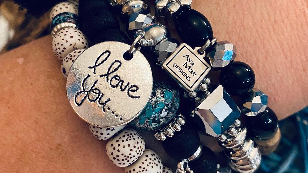 Black & Silver Beaded Stack Bracelets