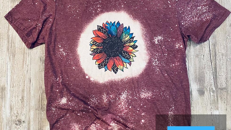 Womens Bleached Sunflower Sublimation T-Shirt