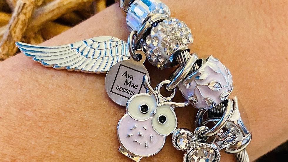 Lavender Owl One Piece Coil Charm Bracelet