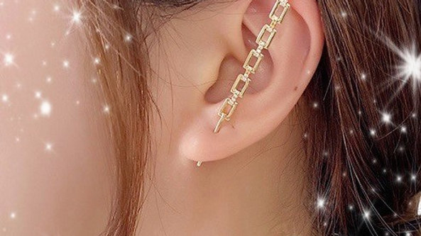 Gold Bling Square Ear Wrap Hook Earring