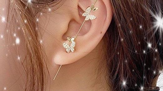 Gold Bling Butterfly Ear Wrap Hook Earring