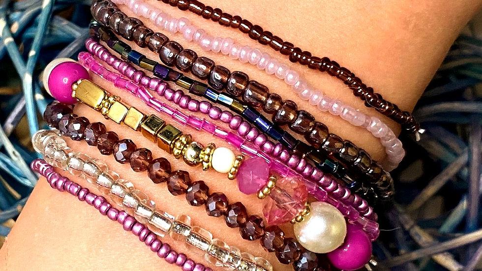 Purple Multi Strand Seed Bead Bracelets