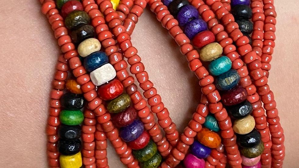 Burnt Orange Multi Colored Beaded Cuff Bracelet