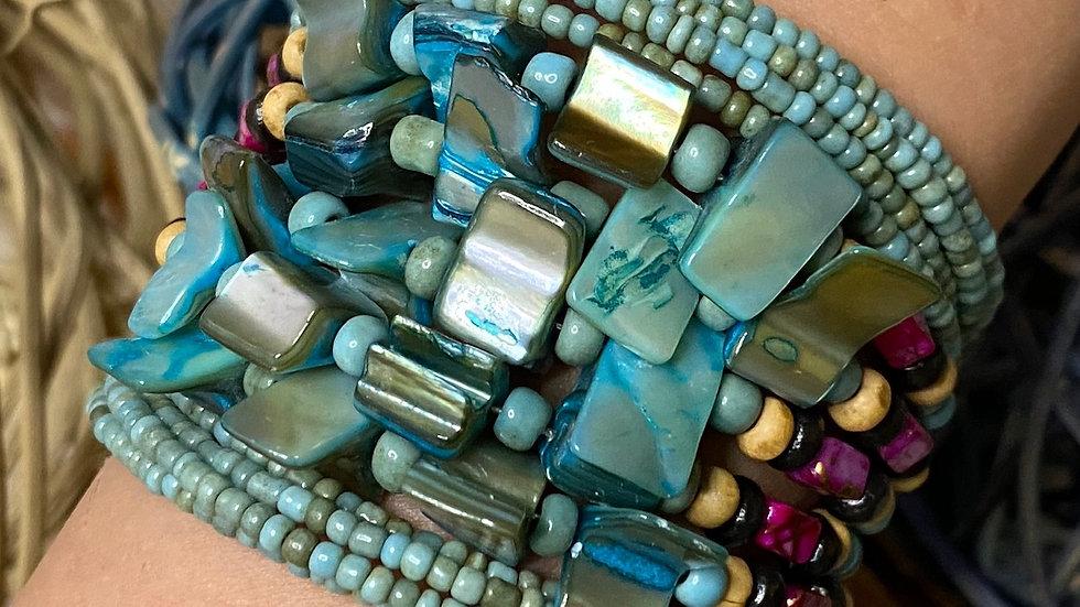 Blue Aqua Beaded Cuff Bracelet