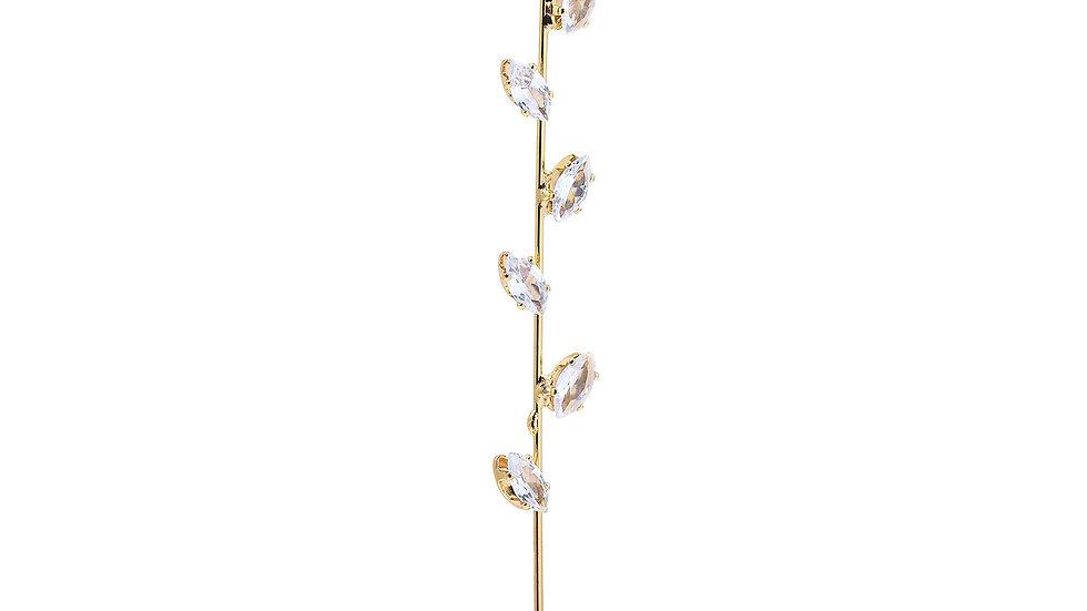 Gold Bling Leaf Rhinestone Ear Wrap Hook Earring