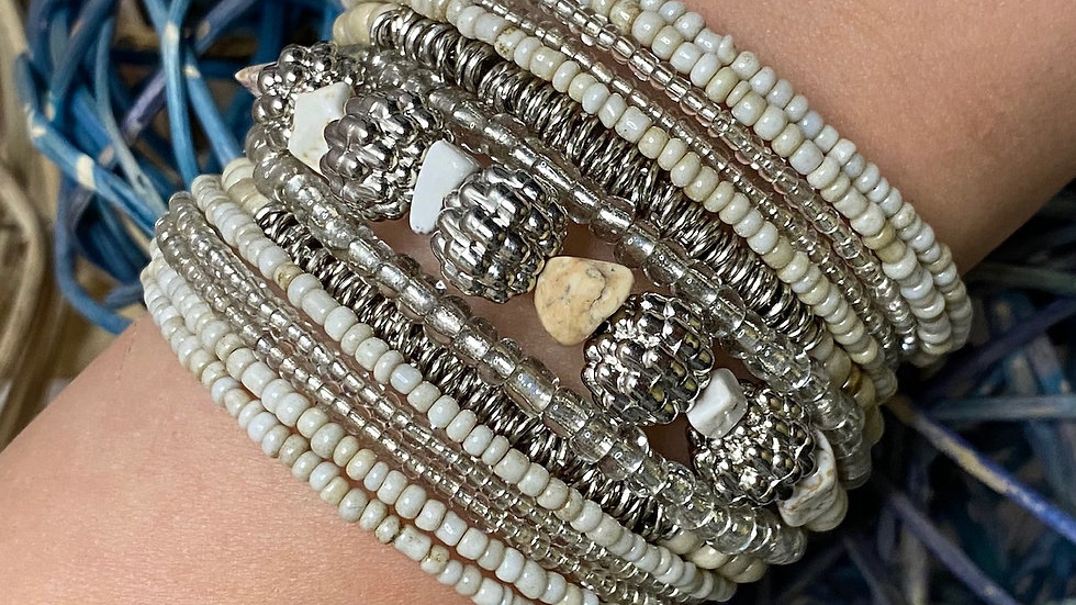 Classy Cream Beaded Cuff Bracelet