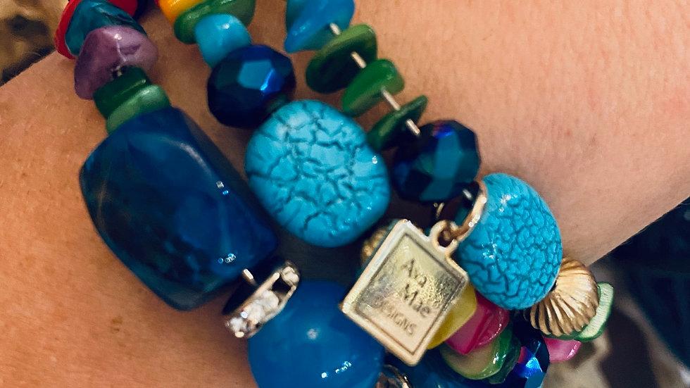 Multi Colored Blue One Piece Coil Beaded Bracelet