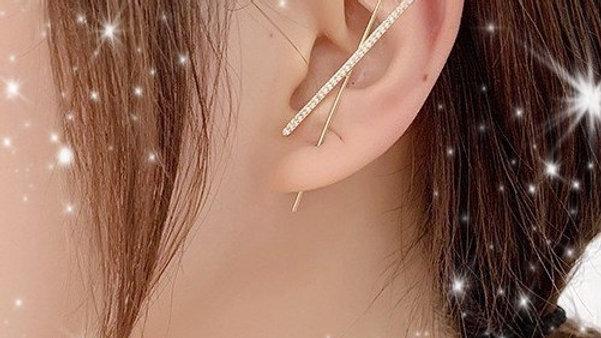 Gold Bling Rhinestone Bar Ear Wrap Hook Earring