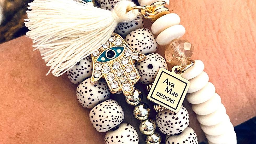 Cream Gold & Turquoise Beaded Stack Bracelets