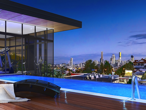 Modern Brisbane Complex Pool overlooking View