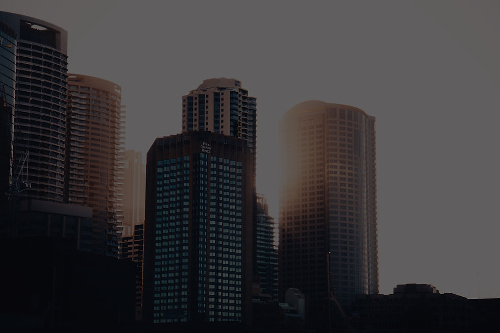 CBD skyscapers corporate with sunset background