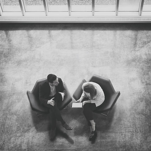 birds eye view of two business people having a meeting