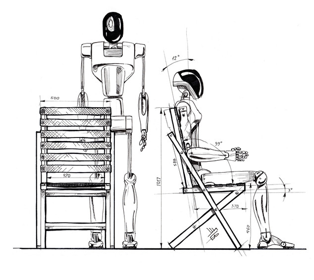Bow chair ergonomics sketch