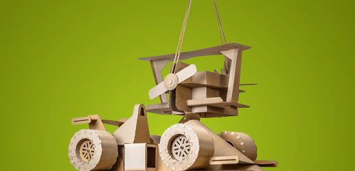CARDBOARD RACING CAR AND BIPLANE TOYS