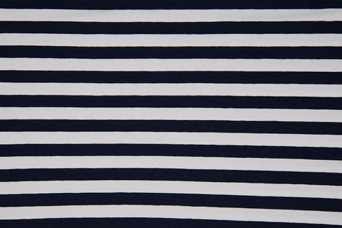 1cm Navy and white stripes - PRE-WASHED