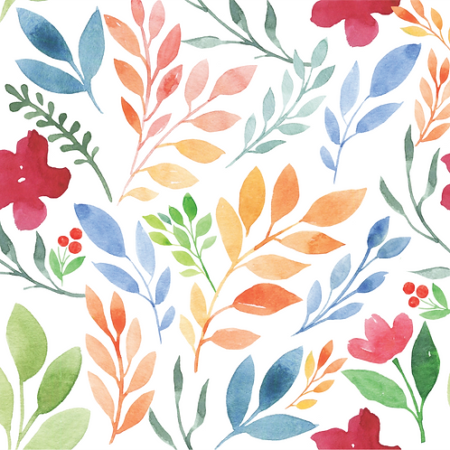 Water colour floral, multi-colour and white