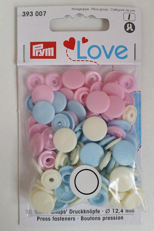 12.4mm Prym Snaps Light Pink/Blue/Pearl mix