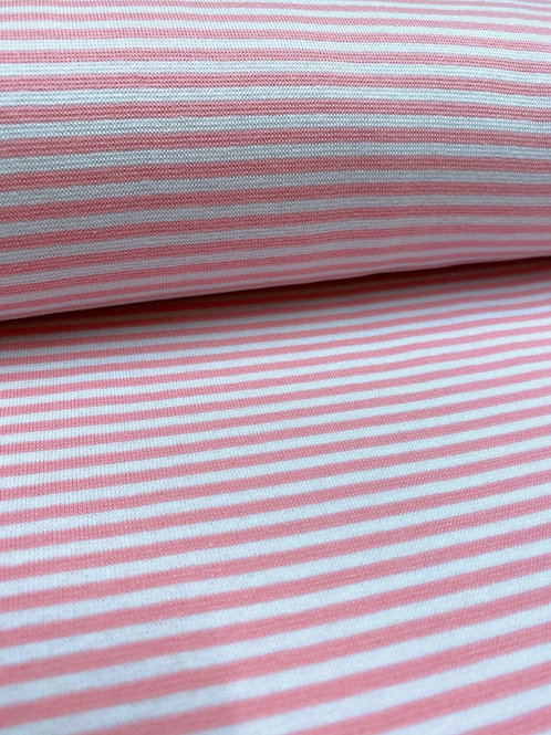 Ribbing - pink and white 3mm stripes