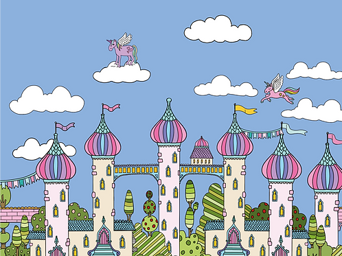 Unicorn palace border print