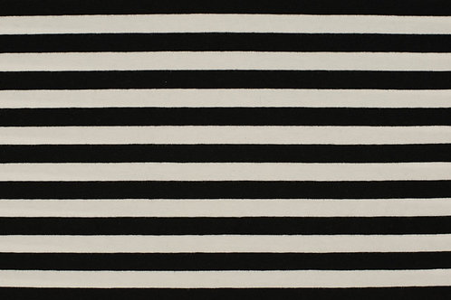 "Black and white 1/2"" stripes - French Terry- PRE-WASHED"
