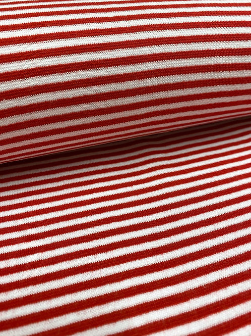 Ribbing - Red and white 3mm stripes