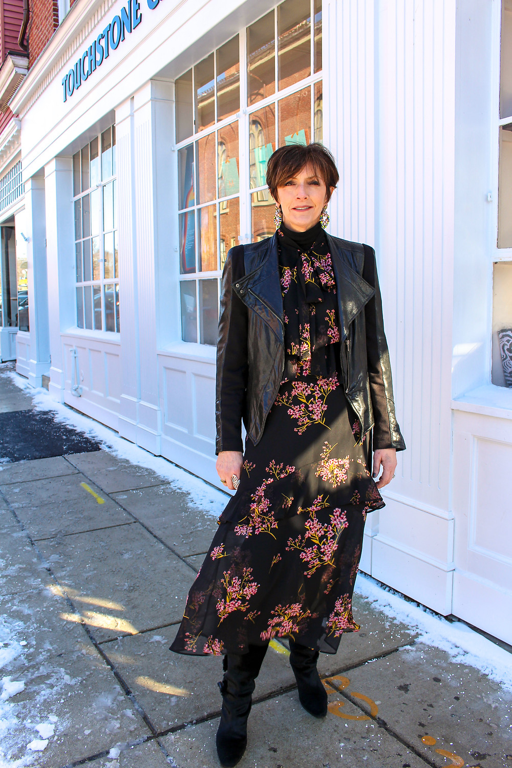 Fall Trends 2019 Dark Floral Dress Jacket with Dress