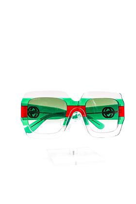 Gucci Red and Green Stripe Sunglasses