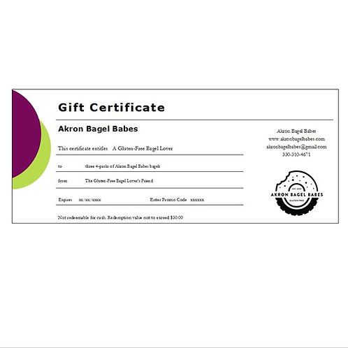 Gift certificate for three 4-packs of Akron Bagel Babes bagels