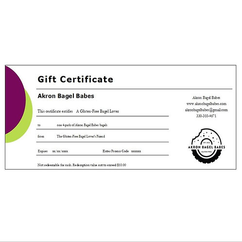 Gift certificate for one 4-pack of Akron Bagel Babes bagels