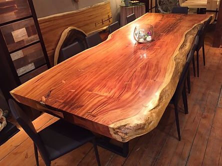 Live Edge Table With Steel Base