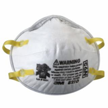 3M 8210 N95 Particulate Respirators, Half Facepiece, Filter, One Size