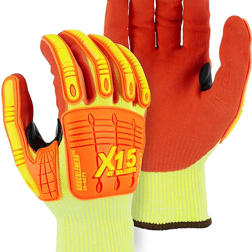 35-557Y X-15® Cut & Impact Resistant Glove with Double Sandy Nitrile Coating