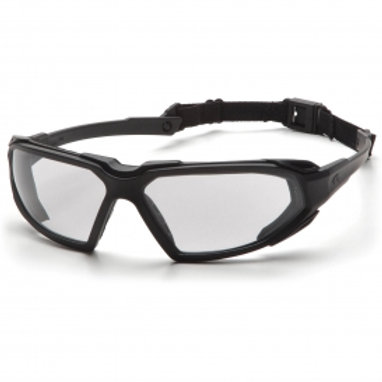 Pyramex Highlander Safety Glasses - Black Frame - Clear Anti-Fog Lens