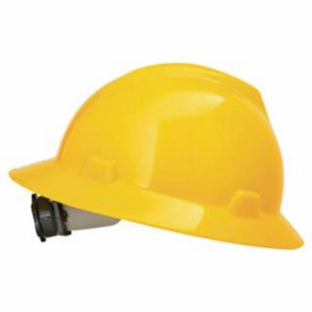 MSA 475366 V-Gard Protective Hats, Fas-Trac Ratchet, Hat, Yellow