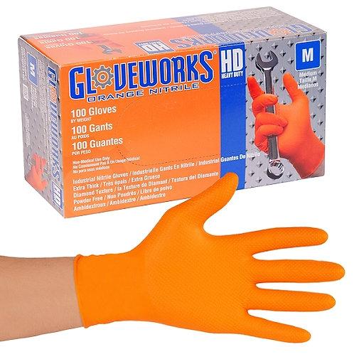 Glove Works Nitrile Orange-GWON48100
