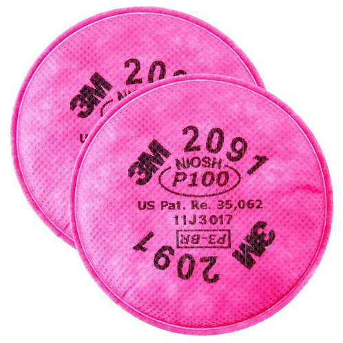 3M 2091 Series Filters, Oil & Non Oil Based Particles, P100, Magenta
