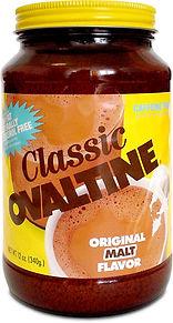Classic Ovaltine jar with yellow label original malt flavor