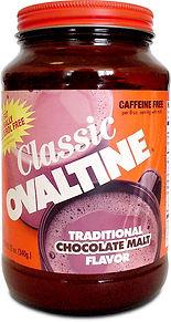 Classic Ovaltine jar with orange label - traditional chocolate malt flavor