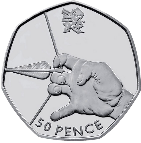 Archery 50 Pence Fifty Pence Olympics 2011 - CIRCULATED
