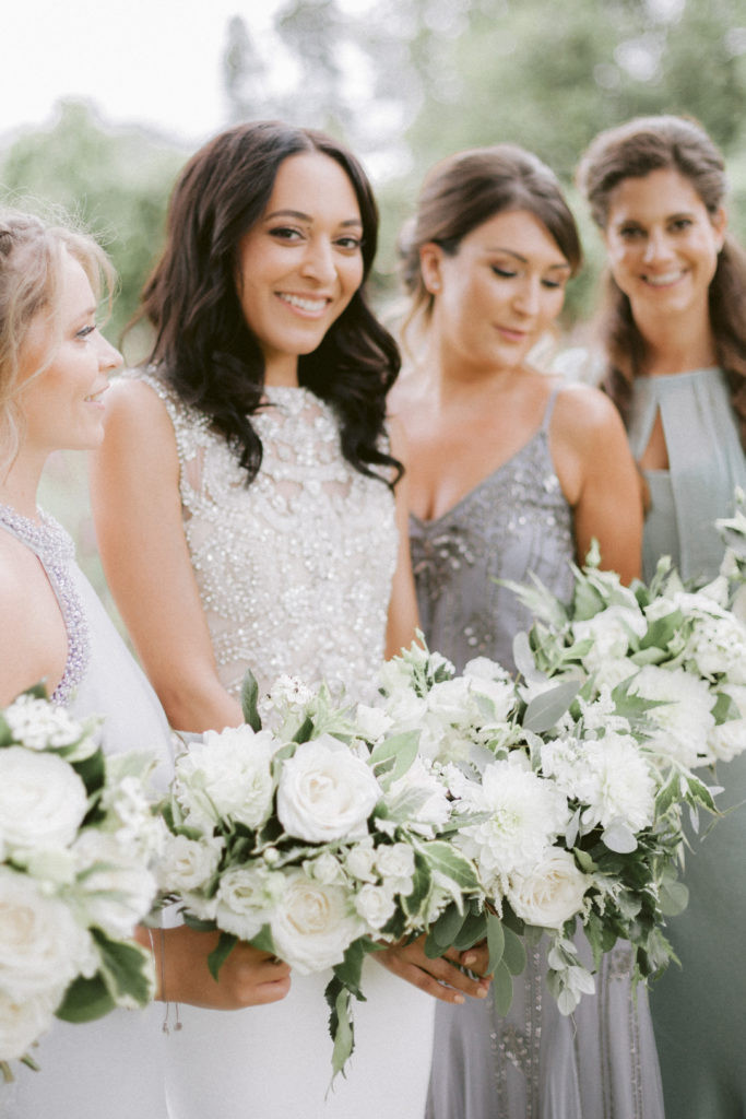 Bride and bridesmaids bouquets at Elmore Court