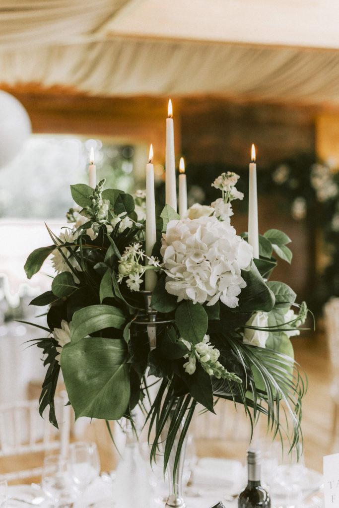 Tropical foliage candelabra
