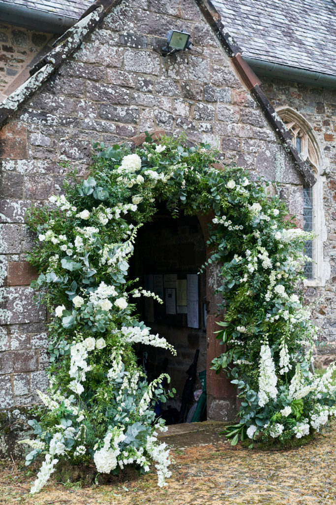 Church wedding floral arch
