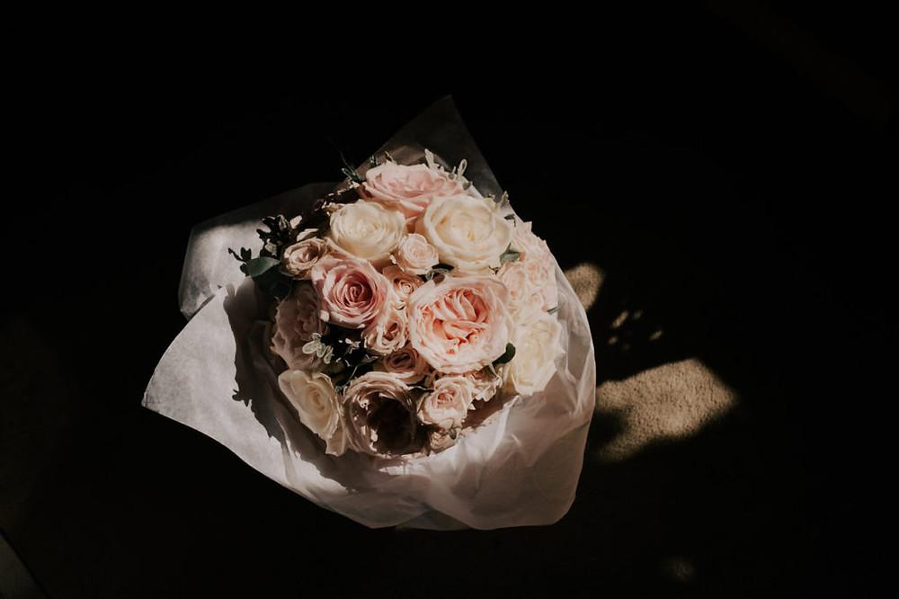 Ivory and blush rose wedding bouquet