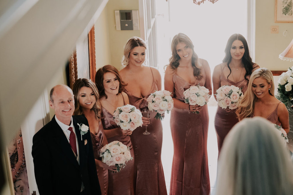 Ivory and blush bridesmaids bouquets